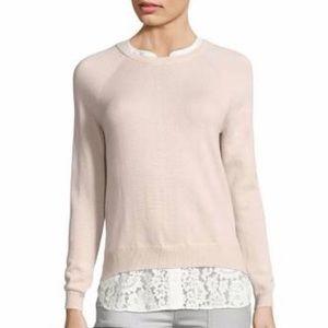 Joie Sweater Lace Trim ZAAN K Crewneck Heather